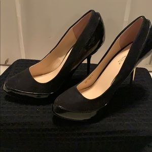 Black pumps with gold heel. Size 8